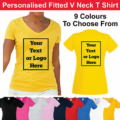 Custom Printed Ladies V Neck Fitted T Shirt Personalised Women's Tee Shirt Hen