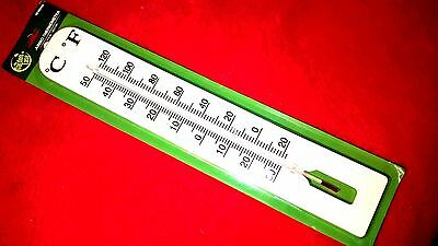 "Lot Of 1 Large Jumbo White Thermometers For Outdoor Indoor 2 1/2"" X15.5.''new."