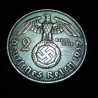 Nazi Silver Coin Germany Third Reich 1937 A 2 Reichsmark KM#93 Swastika, Hitler+