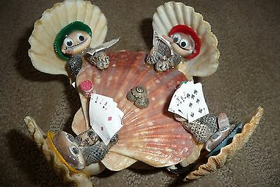 Shell Art  Poker Card Playing Shell Frog Figures Coke Card Shark Excellent Cond
