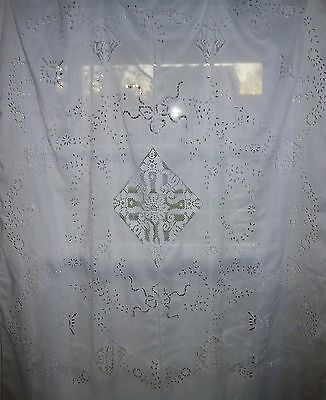 Stunning Antique French Batiste Hand Embroidered Curtain Panel Lace White