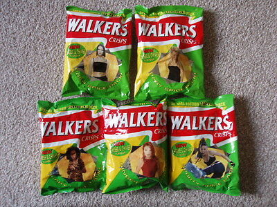 SPICE GIRLS Set of 5 Walkers Crisp packets including contents original unopened
