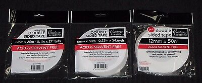 Couture Creations 'DOUBLE SIDED TAPE' (Choose from 3 Sizes) Acid & Solvent Free