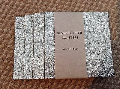 NEW**Set of 4 Silver Glitter Coasters ~ Sparkle Glitzy ~ Kitchen Dining Table
