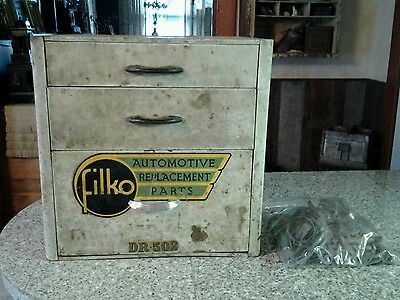 Vintage Filko Automotive Counter Top Parts Display Cabinet With Parts Amazing