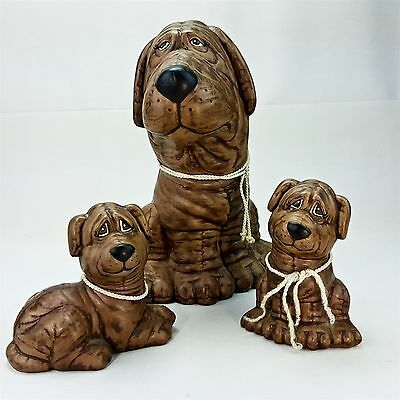 Vintage 3 pc Ceramic Handmade Brown Puppy Dog Shar Pei Figurine Set 1989