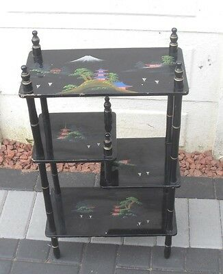 VINTAGE 1950/60s JAPANESE HAND PAINTED LACQUER SHELF SHELVES FREE STANDING UNIT