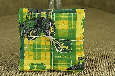 John Deere Fabric Green Yellow Farm Tractor Drink Coasters 6 pc Set Cocktail K3