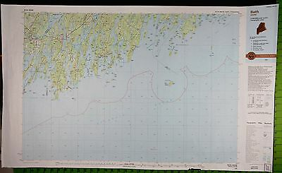 Bath Maine Boothbay Massive Topographic Map 25x40 Inches