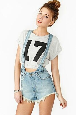 UNIF Penny Denim Jumper Suspender Shorts size 28 NWT