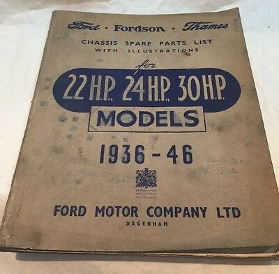 Vintage Car Manual Ford Fordson Thames Chassis Spare Parts List 1936-46
