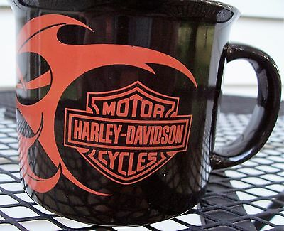 Harley Davidson Motorcycles Collectible Coffee Mug Cup Black With Flames 2004