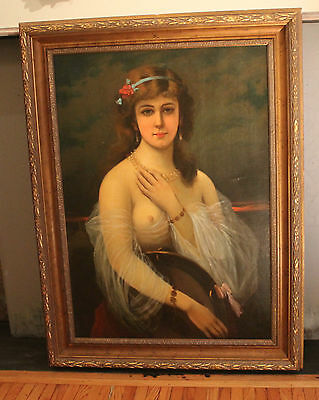 Portrait of Woman-Art Deco C.1920-ies, Oil Painting, American, Signed