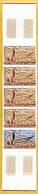 MNH Somali Coast Proof/Imperf Strip of 5 (Lot #scs45)