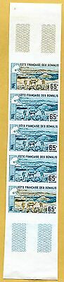 MNH Somali Coast Proof/Imperf Strip of 5 (Lot #scs17)