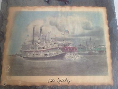 Vintage 'THE NATCHEZ' La. Art Photo On Slate from Fire of 1795 M. Plauche