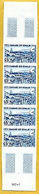 MNH Somali Coast Proof/Imperf Strip of 5 (Lot #scs3)