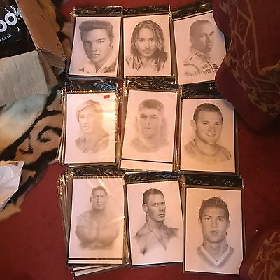 WHOLESALE JOBLOT 173 x A4 FAMOUS CELEBRITY FACES PENCIL SKETCHES PICTURES NEW