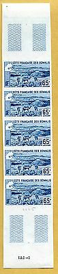 MNH Somali Coast Proof/Imperf Strip of 5 (Lot #scs24)