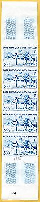 MNH Somali Coast Proof/Imperf Strip of 5 (Lot #scs104)