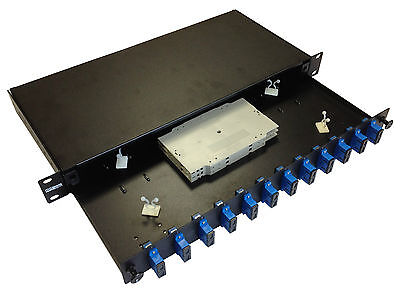 Maxxam 12 Fibre 6 x LC Duplex OM3 1U Patch Panel and gland, clips & splice tray