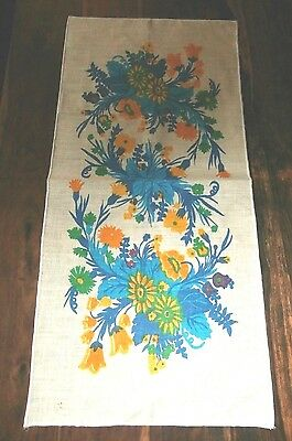 Vintage linen floral tea towel or table runner gold turquoise crisp