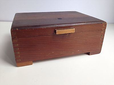 Vintage Hinged Solid Wooden Box Dovetail Handcrafted w/Feet Stash Box