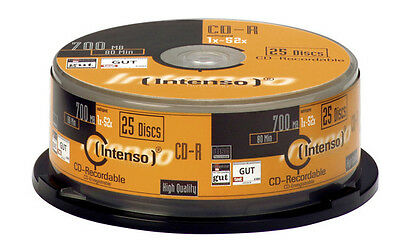 B0320581 Confezione Cd-R Intenso 80 / 700Mb 52X Speed, Cakebox Spindel 25Pcs [10
