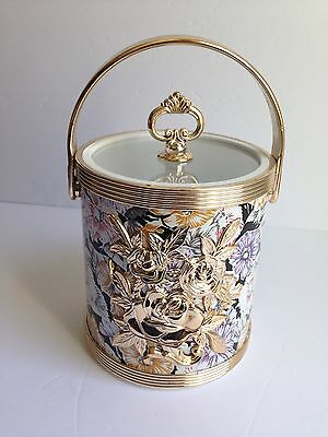 Vintage Floral Small Ice Bucket Plastic Gold Tone, Thailand