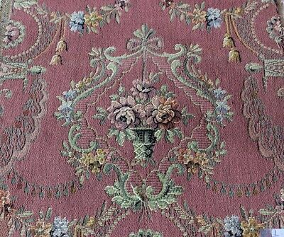 """French Antique """"Marie Antoinette"""" Style Cotton Tapestry Fabric Textile c1920"""