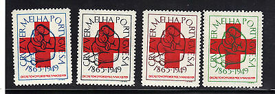 Portugal Red Cross Stamp Set Mint Very Lightly Hinged VLH 1949