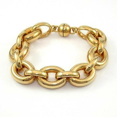 Solid 14K Yellow Gold with Resin Large Rolo Link Magnetic Clasp Bracelet QX