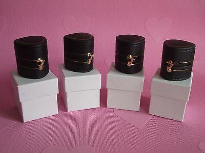 Four New Antique Style Heart Shaped Ring Earring Jewellery Boxes Black