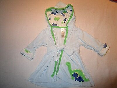 Carter's baby bath robe, size 0-9 months.  Blue, dinosuars.