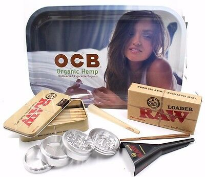 Raw King Size  Cone Tray Bundle W Grinder Raw Cone Loader And Ocb Tray