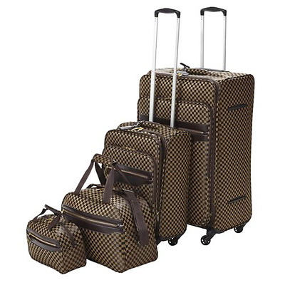 4-Wheel Brown Check 4 Piece Luggage Suitcase Holdall Cabin Bag Set - ZIP ISSUE