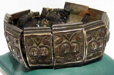 BEAUTIFUL ANTIQUE 1800s.SILVER BRACELET in 9 PARTS,AMAZING FLORAL DECORATION#21C