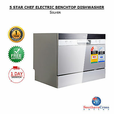 5 Star Chef Electric Stainless Steel Threefold  Benchtop Dishwasher Silver