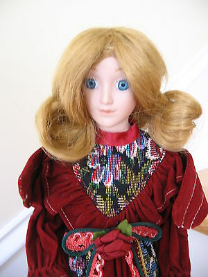 """Porcelain China Doll Angel Red Velour Tapestry Dress w Stand Big Blue Eyes 15"""""""
