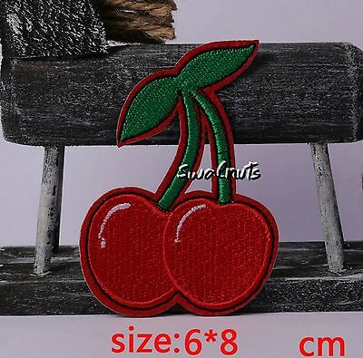 Embroidered Iron on Transfer RED Cherry Fruit Badge Patch Applique Motif