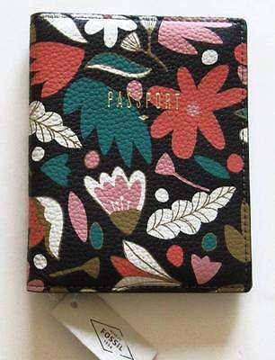 Fossil Dark Floral Leather RFID Passport Case #SL7003992 NWT