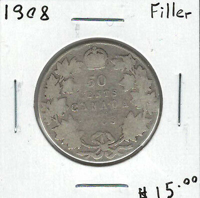 Canada 1908 Silver 50 Cents Filler