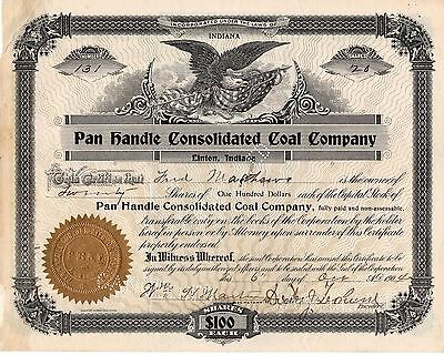 PAN HANDLE CONSOLIDATED COAL COMPANY Stock Certificate 1904