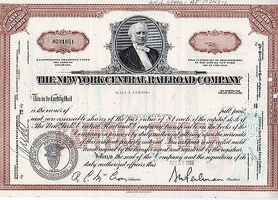 The New York Central Railroad Company Stock Certificate 1965