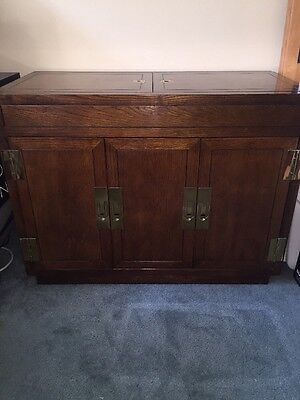 Henredon Elm Bar Cabinet With Campaign Style Hardware