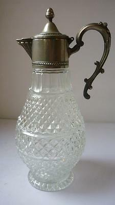 Antique Silver plated mounted Claret pressed Glass jug Art nouveau