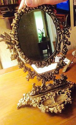 Vintage Antique Style Cast Iron Mirror On Stand For Vanity Counter Top Home Shop