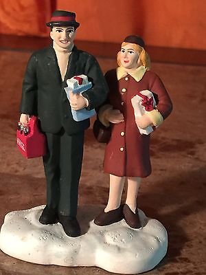Coca Cola Town Square Collection 1997 Man And Woman With Gifts And A Six Pack
