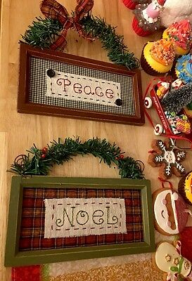 Primitive Country Christmas Peace Noel Wall Hanging Sign Wreath ORNAMENT Tree