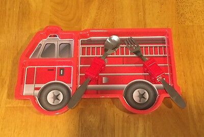 Fire Truck Mealtime Set - Melamine Plate with Spoon & Fork - Child's Dinnerware